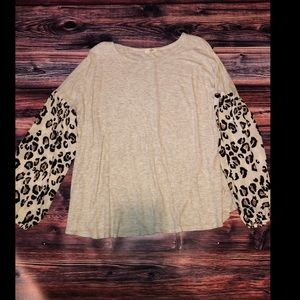 Leopard Scarf Sleeved Blouse
